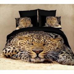 """Постельное белье """"Леопард"""" 3D сатин"""