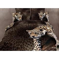 """Постельное белье """"Леопарды"""" 3D сатин"""