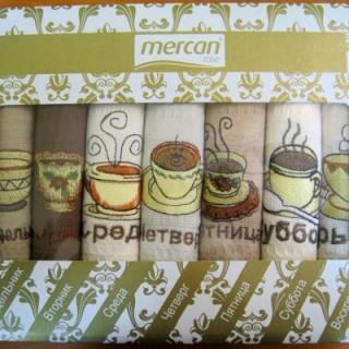 Салфетки в коробке Неделька вафельные с вышивкой