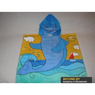 """Накидка-полотенце с капюшоном """"Дельфин"""""""
