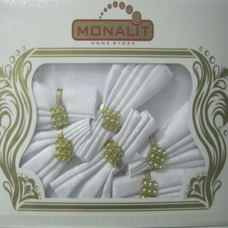 Скатерть + 6 салфеток с кольцами цвет белый